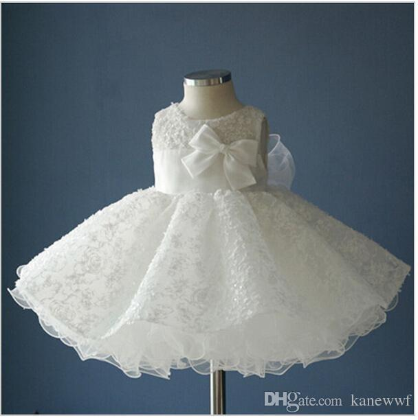 ea9cee9a92e62 Noble white bow baptism christening gown,New born baby girls/infant  princess Tutu birthday dresses,batizado,bapteme