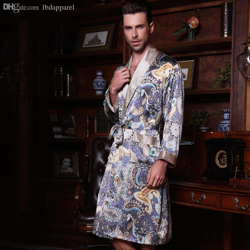 2019 Wholesale Chinese Pure Silk Robe Male Long Sleeve 100% Silk Robe  Sleepwear Bathrobe Dressing Gown Men S Silk Kimono Hombre From Lbdapparel 3e1c21dc9