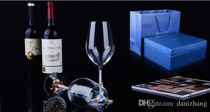470ml Enamel color crystal glass K9 crystal alloy Large goblet Wine Glasses Gift Box 24x6x8cm