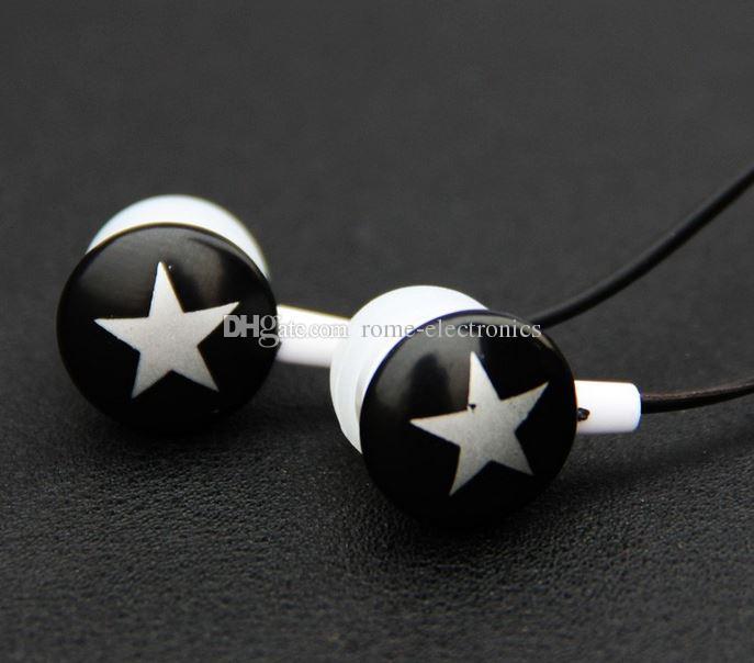 Fone de ouvido pequeno da Em-orelha colorida do fone de ouvido 3.5mm da estrela muitas cores com pacote de varejo