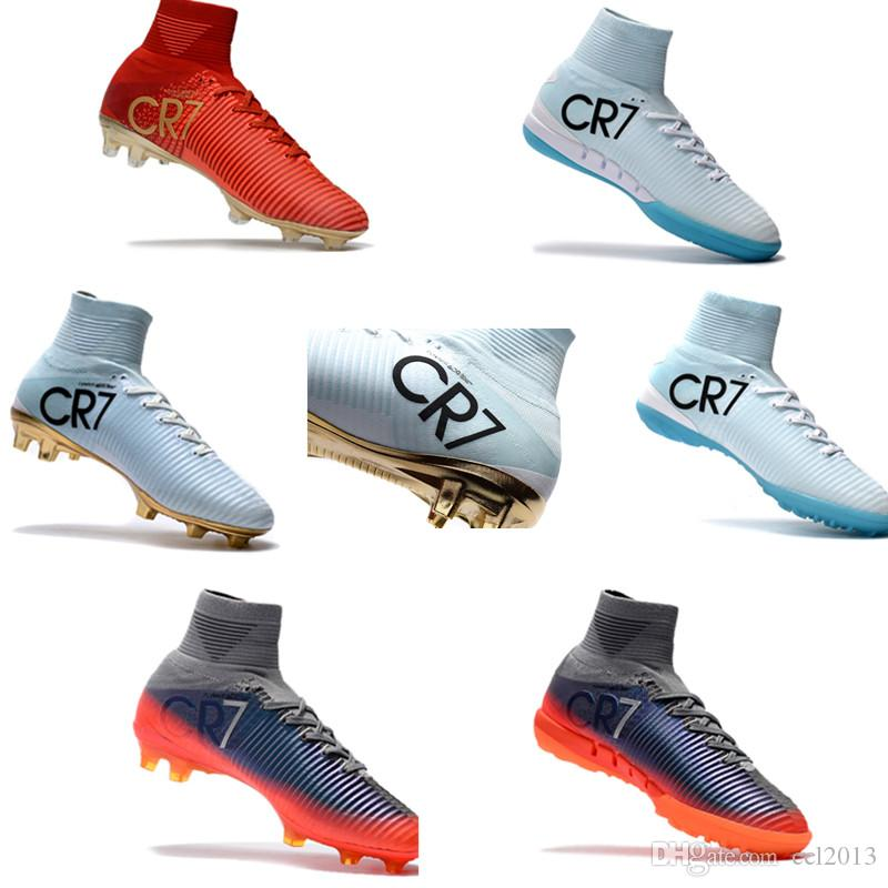 fbdafab36 2019 2018 100% Original Soccer Shoes Soccer Cleats CR7 Cristiano Ronaldo  Men Mercurial Superfly FG TF High Top Football Boots Many Colors From  Ccl2013