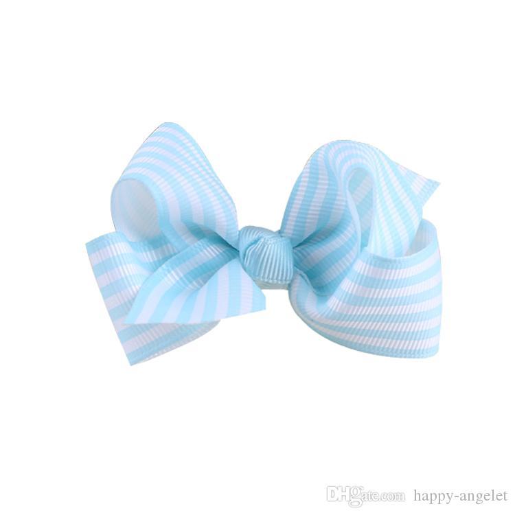 Boutique 3 polegadas de cabelo faixa gorgorão fita arco acessórios bowknot com jacaré cabelo clipe bobbles laços HC032