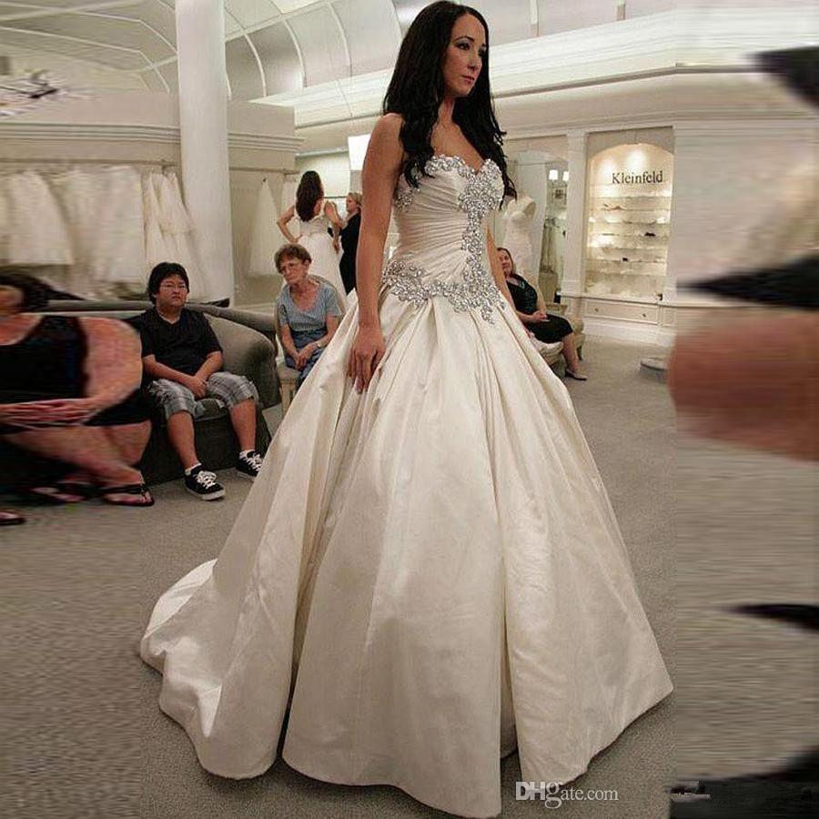 Elegant Crystal Ball Gown Wedding Dresses Strapless Puffy Satin ...