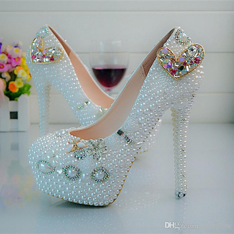 46737717655f5 Heart Rhinestone Wedding Bride Shoes Plus Size White Pearl Platform Party Prom  Shoes Handmade Women Dress Shoes Size 44 Large Womens Shoes Pink Bridal  Shoes ...