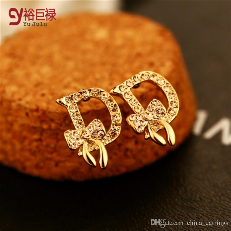 earrings stud woman gold top austrian product coffee rhinestone color