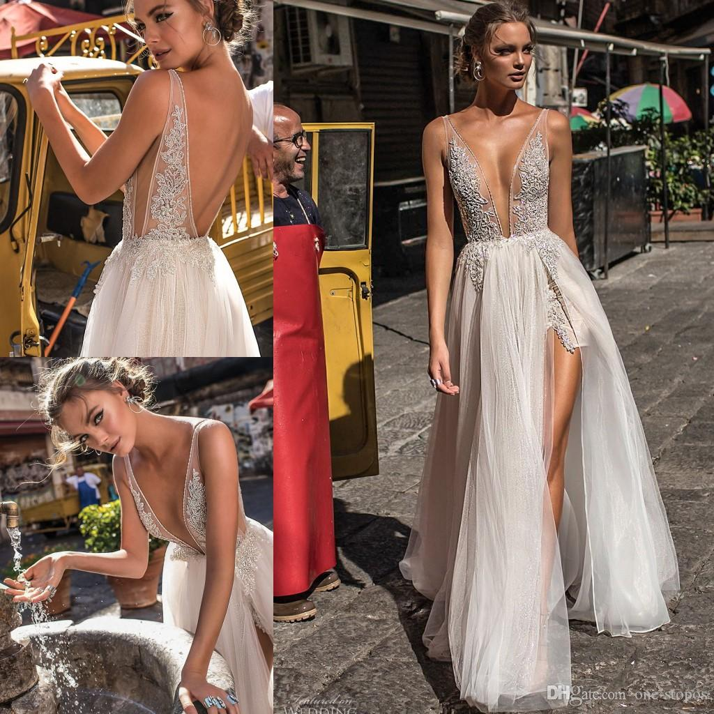 a5387bba6c 2018 Newest Sexy Berta Evening Dresses Deep V Neck Backless Sides Split Prom  Party Gowns Appliques Tulle A Line Red Carpet Celebrity Dress Casual Dresses  ...