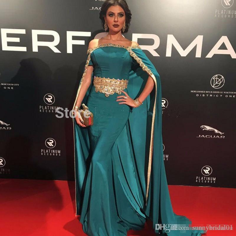 Peacock Off Shoulder Evening Dresses Long with Cloak Gold Beads 2017 New Arrival African Formal Prom Dress Kaftan Celebrity Gowns