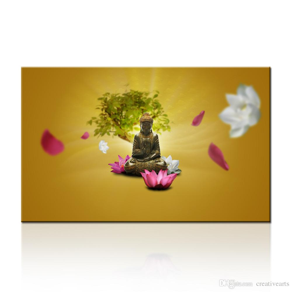 Merciful Buddha Canvas Wall Art Lotus Flowers Zen with Chinese ...