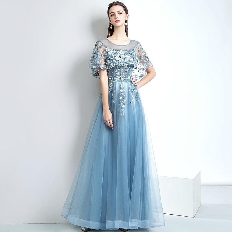 Evening Dress Elegant Gary Blue Scoop Neck Half Sleeves Lace Up Back ...