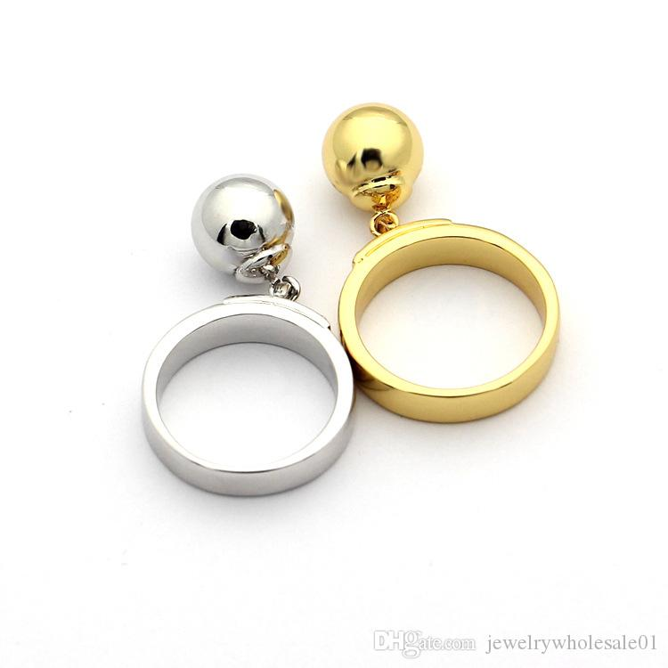 티타늄 강철 보석 도매 T 편지 매달려 구슬 반지 18K 금 매달려 볼 반지 숙녀 링