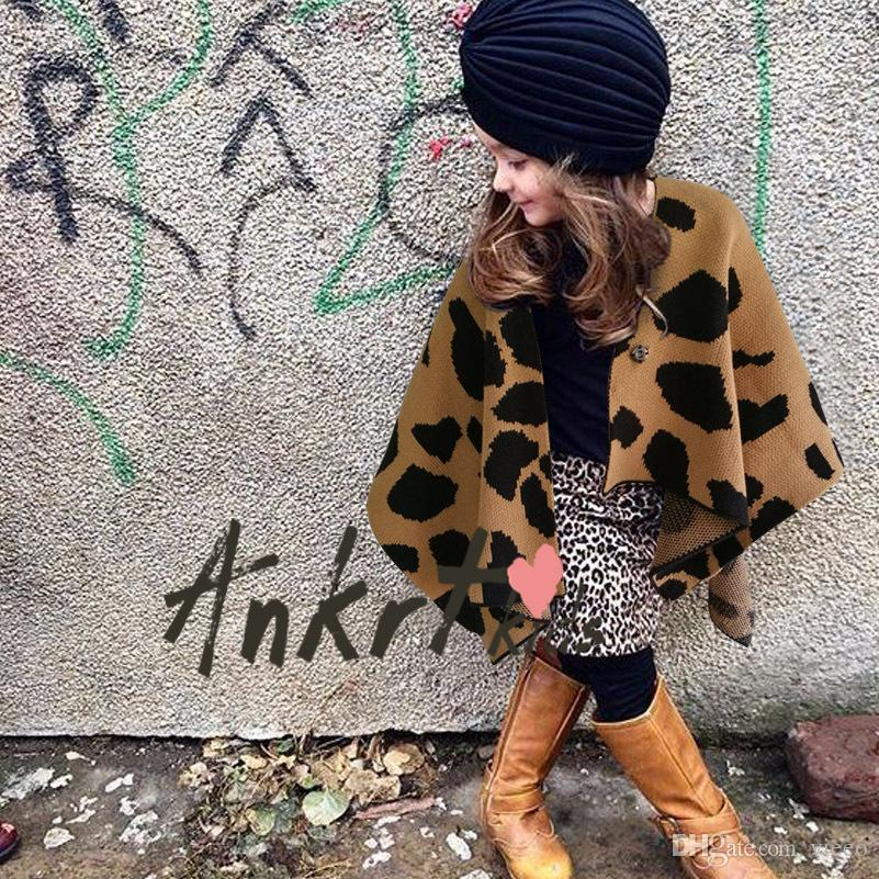 Girls Leopard Cape Christmas Poncho Coat Outerwear 2017 New Autumn