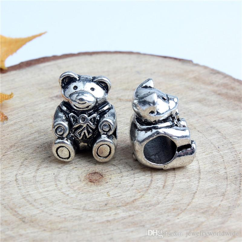Replacement Sitting Bear Alloy Charm Bead Big Hole Fashion Women Jewelry European Style For Pandora Bracelet Necklace