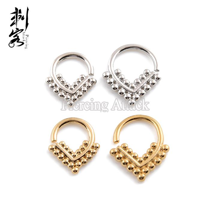 New Arrival Septum Clicker 16G Brass Triangle Shape Tribal Indian Nose Piercing Jewelry of