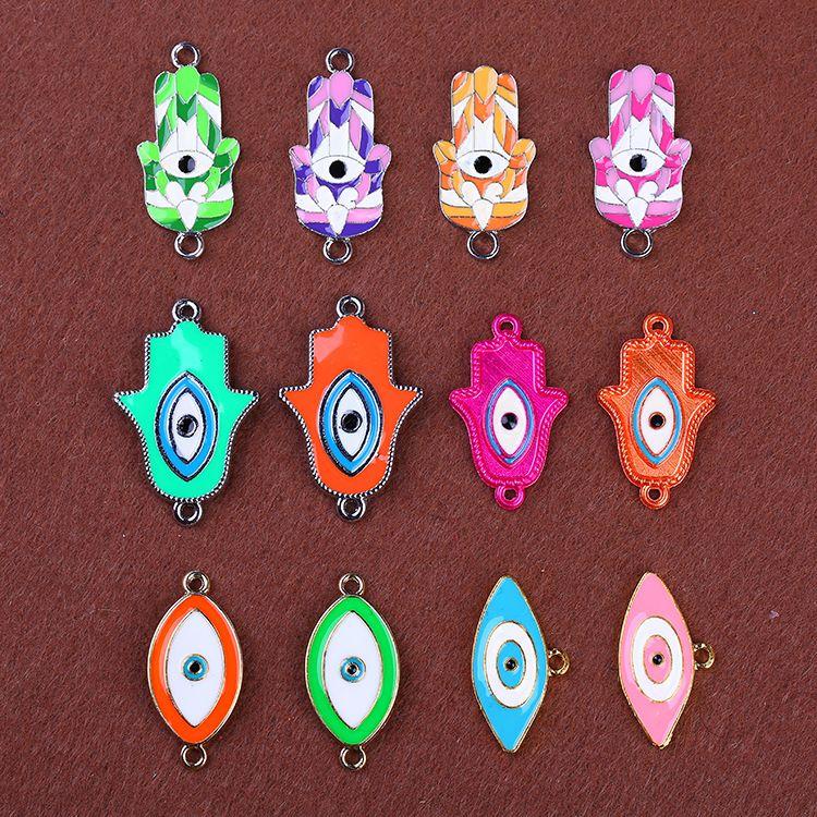 12 Stile mischen für Pandora passen europäischen Armbänder die bösen Blicke Hand Anhänger Halskette Kette Leder Armband Schmuck bunten DIY Charme