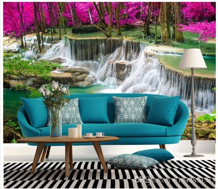 High end Custom 3d photo wallpaper murals wall paper Waterfall forest photography 3D living room wallpaper background wall home decor