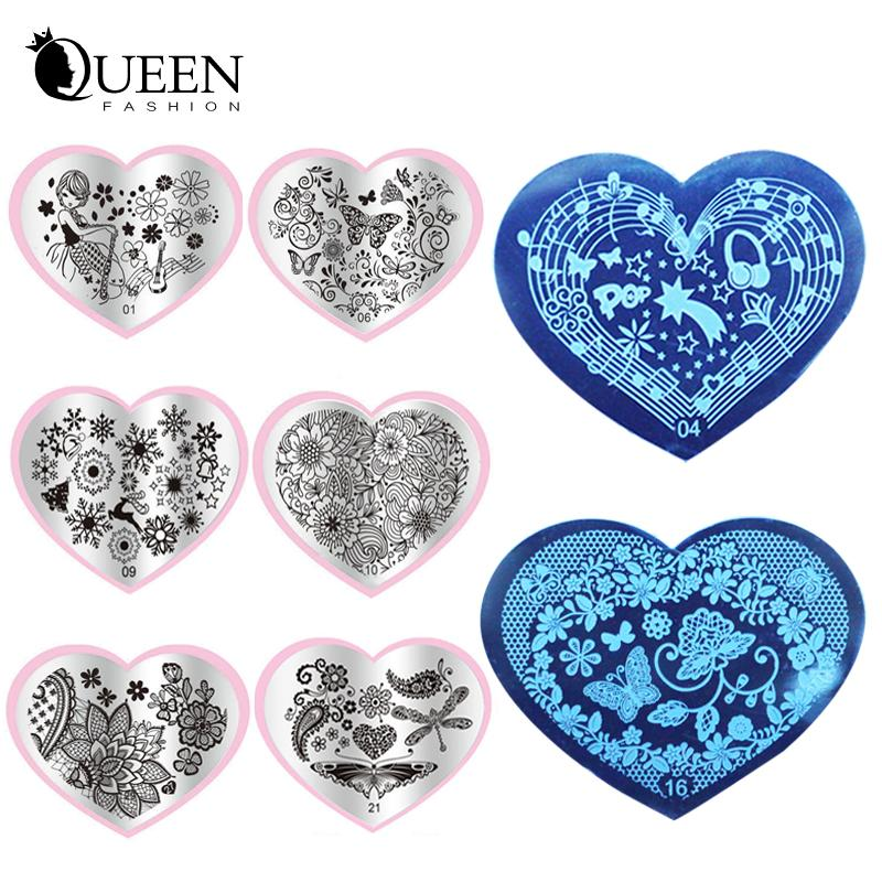 Wholesale 2016 New Love Heart Shape Nail Art Stamping Plates Stainless Steel DIY Flower Christmas Stamp Template Free From