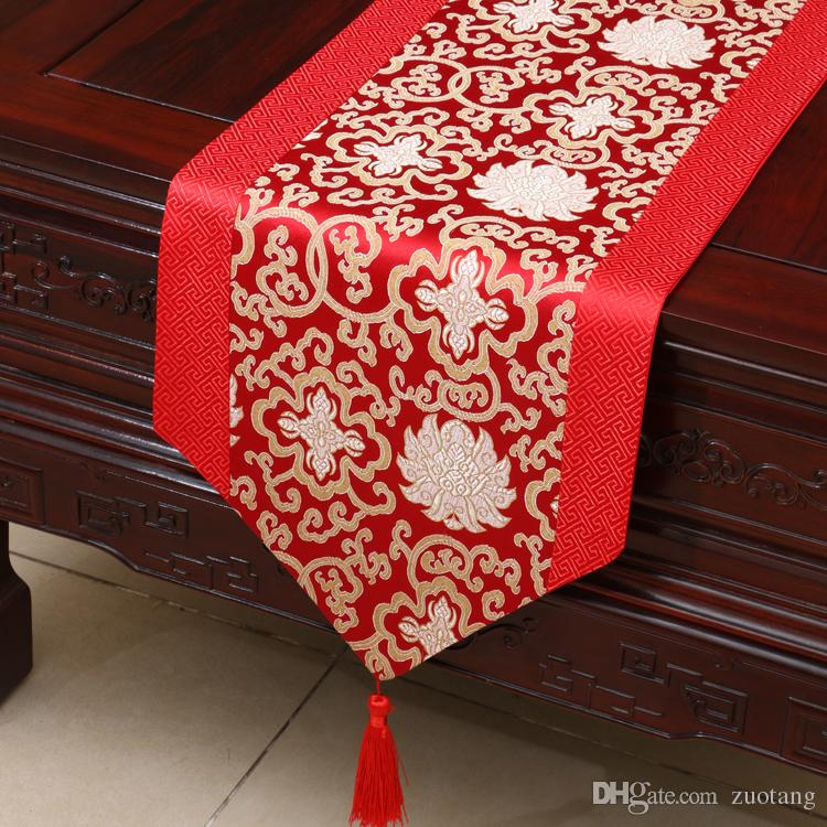 Happy Flower Silk Brocade Table Runner Luxury Patchwork Rectangle Coffee Table Cloth High Quality Dining Table Pads Placemat 200x33 cm