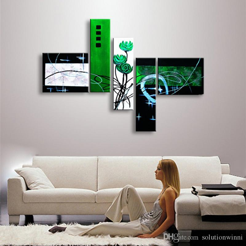 Huge 5 Panel Abstract Geometric Oil Painting On Canvas Modern Green Flower Wall Art Pictures Graffiti Line Paintings Home Decor
