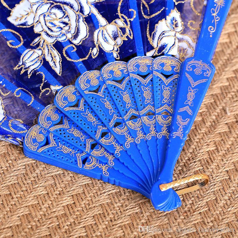 Rose Plastic Frame Lace Silk Hand Fan Chinese Craft Dance Folding Fan