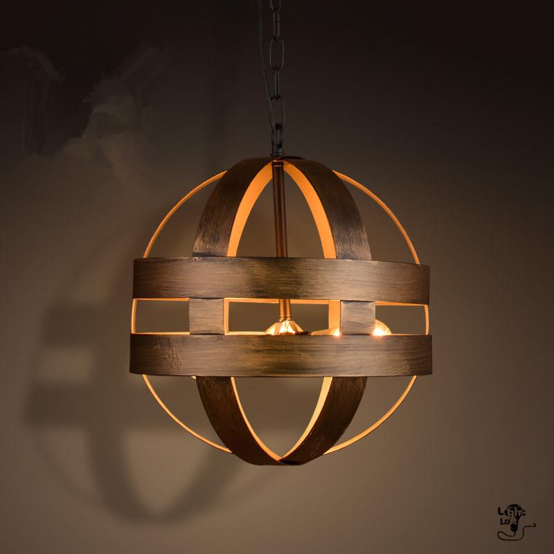 discount vintage atom cyclopean wine barrel pendant lights industrial iron round nordic art pendant lamps bar restaurant light fixtures hanging lamp ceiling - Cheap Light Fixtures