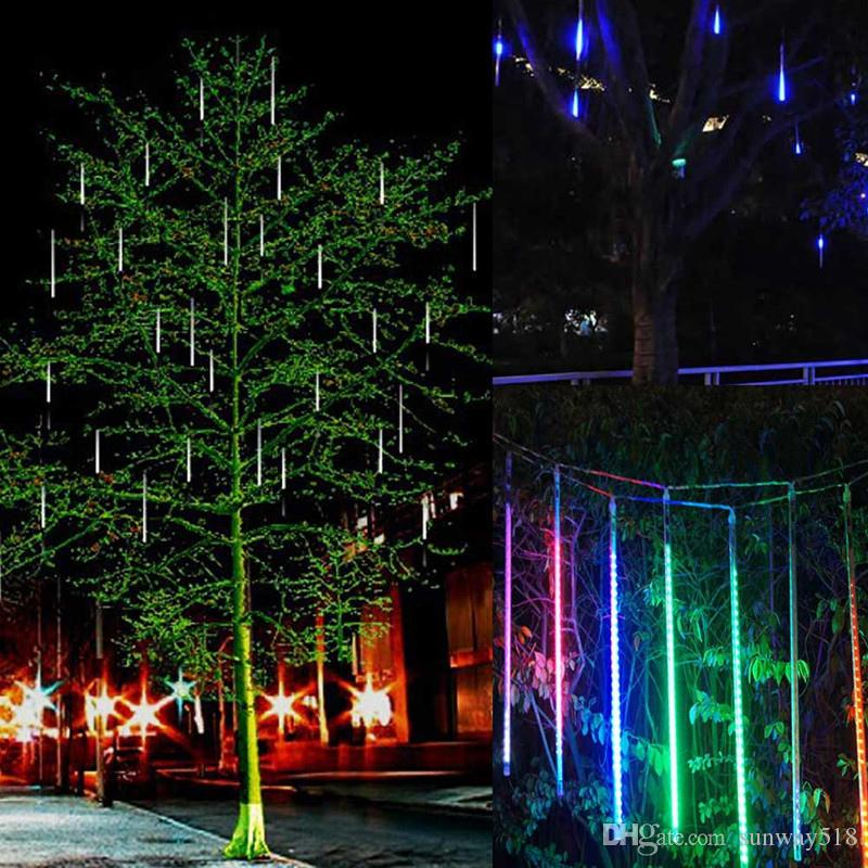 new led meteor shower rain lightsdrop icicle snow falling raindrop 30cm 8 tubes waterproof cascading lights for wedding xmas home decor myy battery powered