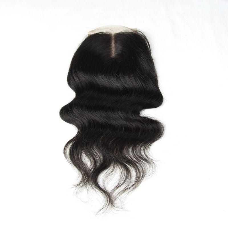 عذراء البرازيلي الإنسان الشعر كامل الرباط اختتام 4x4 بوصة الدانتيل الجزء الأوسط 8-24 بوصة مستقيم الجسم عميق غريب فضفاض culry موجة الشعر