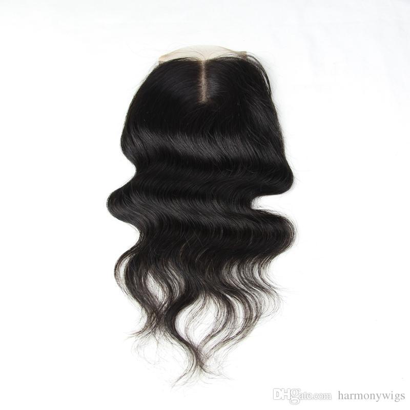 Cabelo Humano brasileiro Virgem Laço Completo Fechamento Lace 4x4inch parte do meio 8-24 polegada Em Linha Reta Corpo Profundo Kinky Solto Culry ondas extensões de cabelo