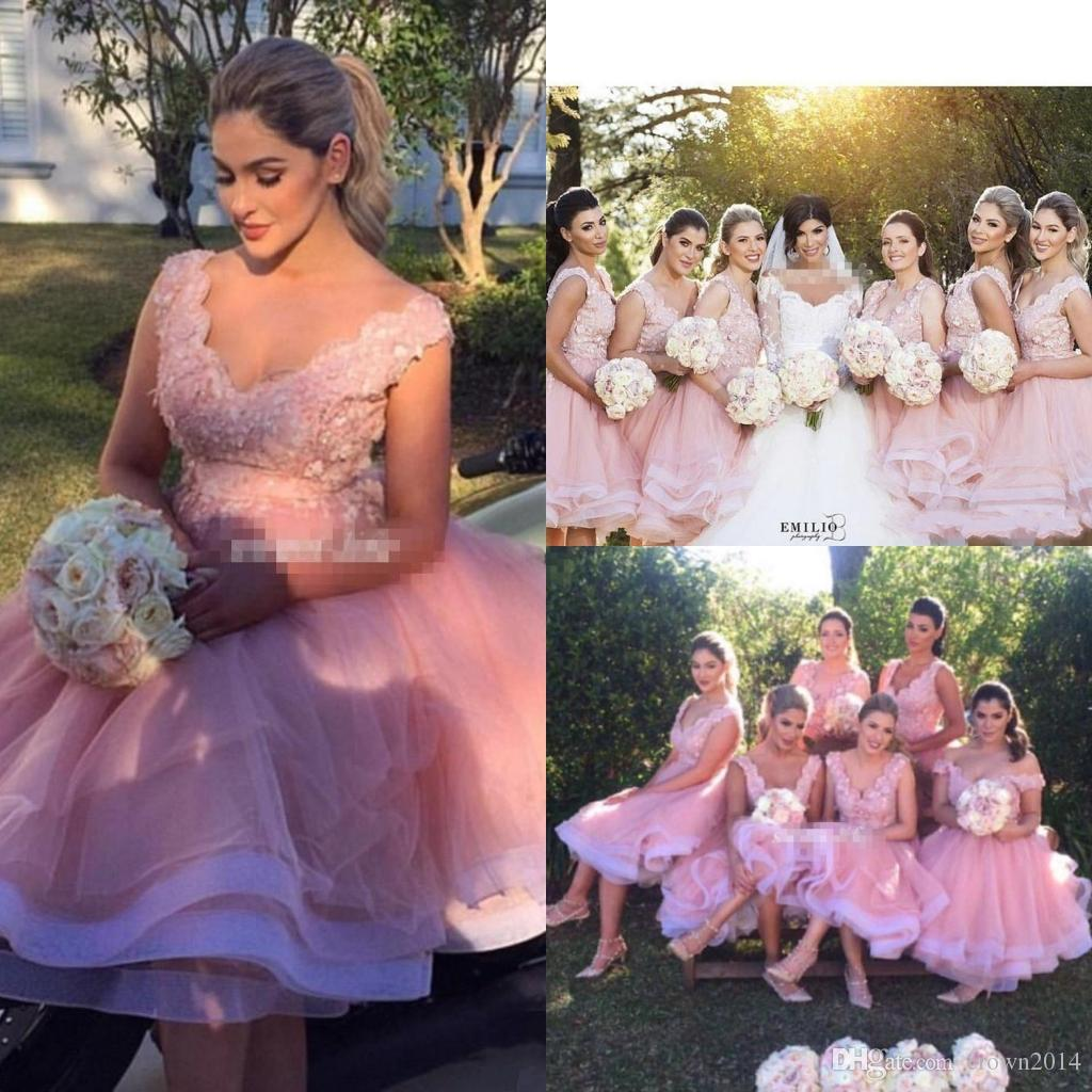 Blush pink lace bridesmaid dresses short beach party 2017 knee blush pink lace bridesmaid dresses short beach party 2017 knee length 3d floral v neck tiered skirt maid of honor wedding guest evening gown silk bridesmaid ombrellifo Gallery