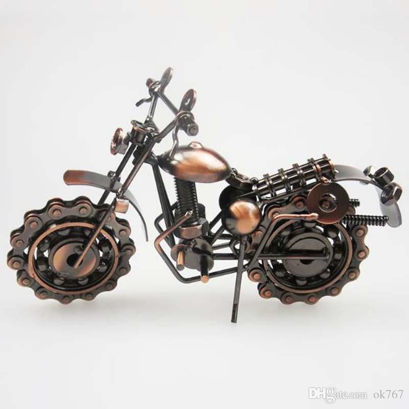 새로운 크리 에이 티브 손 납땜 단철 오토바이 모델 톤 금속 모토 컬렉션 간단한 현대 독특한 장식품