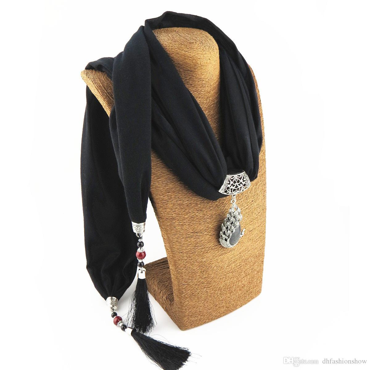 Seta collana della sciarpa del pendente del pavone del fazzoletto da collo delle sciarpe delle donne seta stampata Marmitta 2017 del nuovo progettista Scarfe gioielli Bijoux