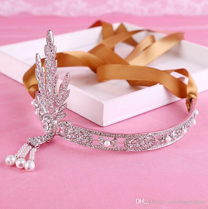2016 The Great Gatsby Rhinestone Pearl Hair Accessories Bridal Tassel Tiara Crown Wedding Jewelry Pageant Crowns Tiaras
