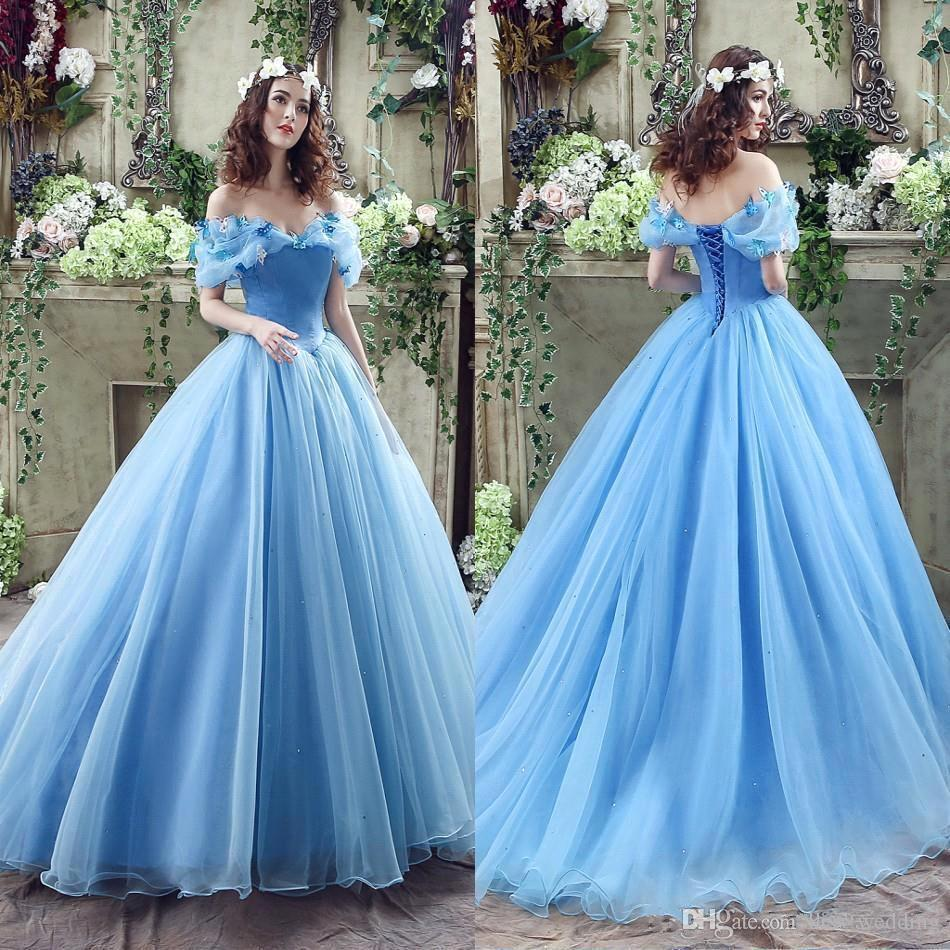 Cheap Ocean Blue Cinderella Puffy Prom Dresses Off Shoulders Beaded ...