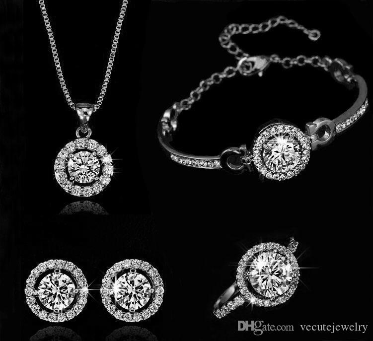 Fashion Luxury 18K Gold Silver Plated Austrian Crystal Necklace Earrings Ring Jewelry Set for Women Made With Swarovski Elements Wedding Set