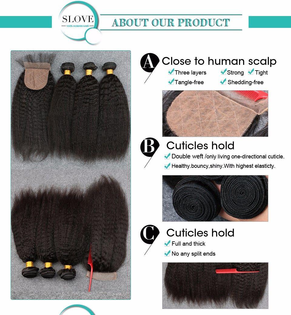 Slove Peruanische Jungfrau Afro Verworrene Gerade Grobe Yaki Menschliche Haarwebart mit Verschluss Italienische Leichte Yaky Haarbündel mit Seide Verschlüsse