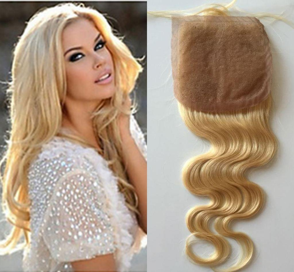 "7A Peruvian Silk Closure 4""x4"" Human Hair Closure 613 Blonde Body wave wavy Hair Closure with baby hair Free/Middle/3 Parts"