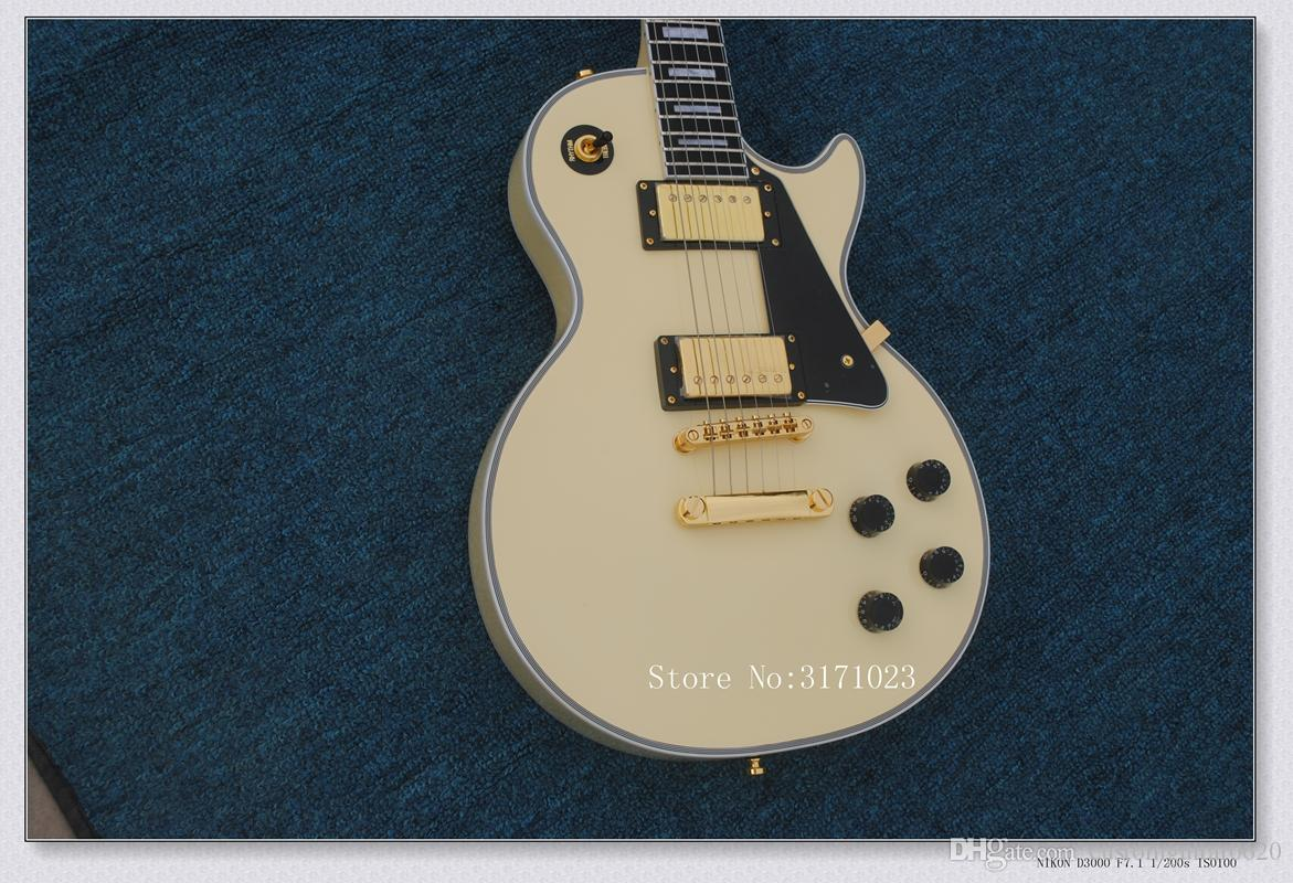 Heißer Verkauf Custom Shop Randy Rhoads Palisander / Ebenholz Griffbrett Creme Gelb E-Gitarre Goldene Hardware Freies Verschiffen