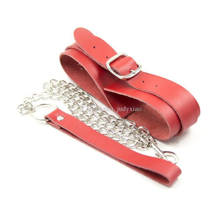 Vuxna spel röda läder sex krage doggie krage vuxen bdsm kärlek krage sex växel sex leksaker för henne