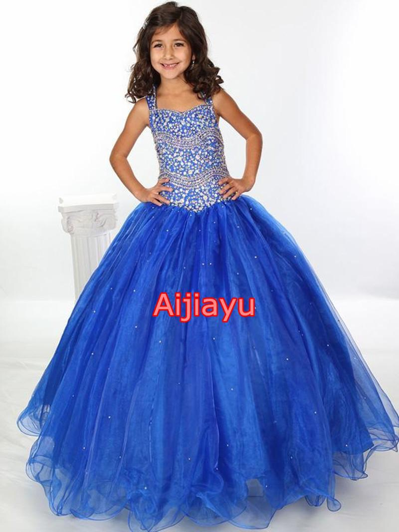 New Beautiful Blue Size 10 12 14 Girls Pageant Dresses
