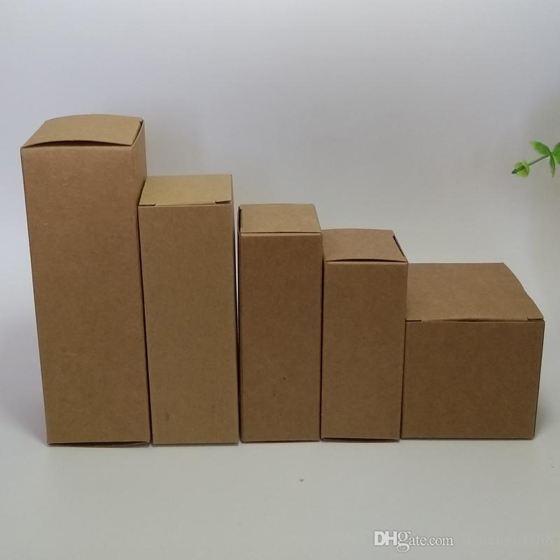 50pcs 7*7*5/6/7/8/9/10/11/12 Blank Kraft Paper Packaging Box for facial cream cosmetics handmade soap candy gift b valve tubes