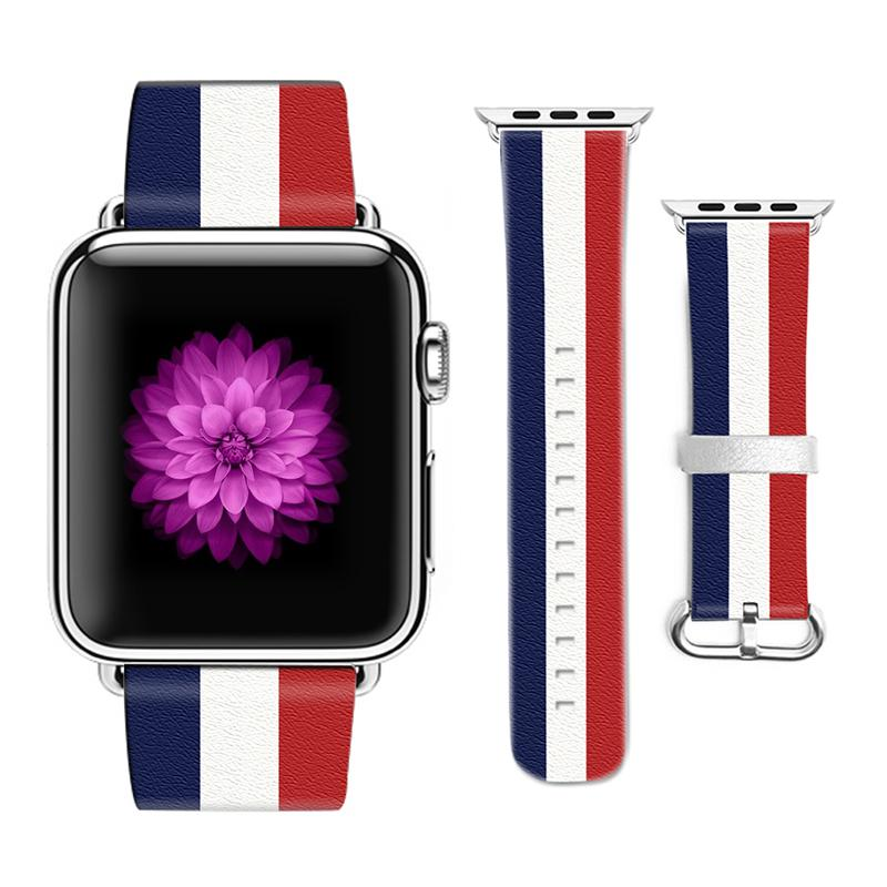 Original Designer National Flag Style Leather Band For Apple Watch Band  38mm 42mm Leather For Iwatch Strap Gifts For IPhone Case Best Watch Bands  Best ... 8af5c996e586