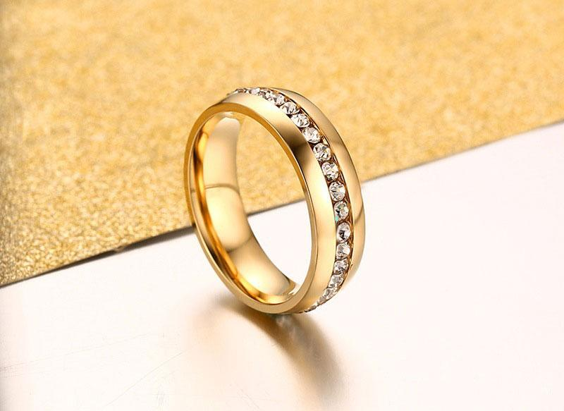 18k Gold Stainless Steel Ring Wedding Cocktail Accessories Fashion Austrian Crystal Rings for women Classic Stainless Steel Jewelry