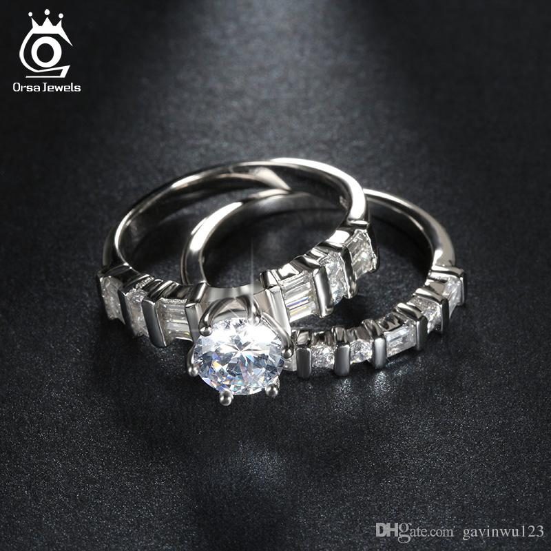 Luxury 13ct Brilliant CZ Diamond Engagement Wedding Eternity Ring Set White Gold Plated Silver Promise Gift For Women OR113 Cubic Zirconia