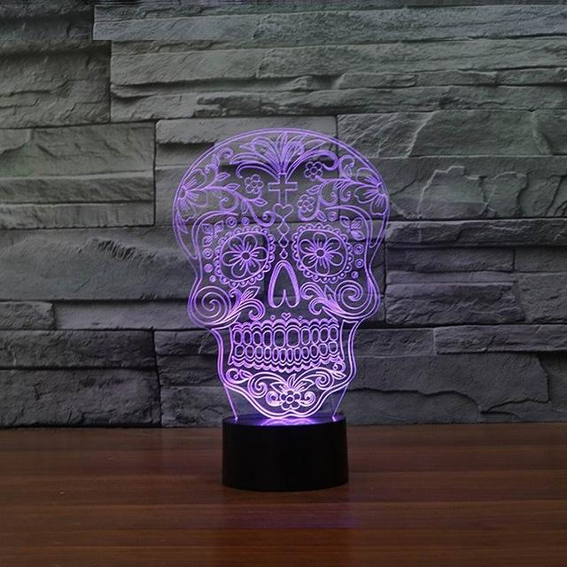 Creative Artistic 3d Visualization Skull Shpe Led Night