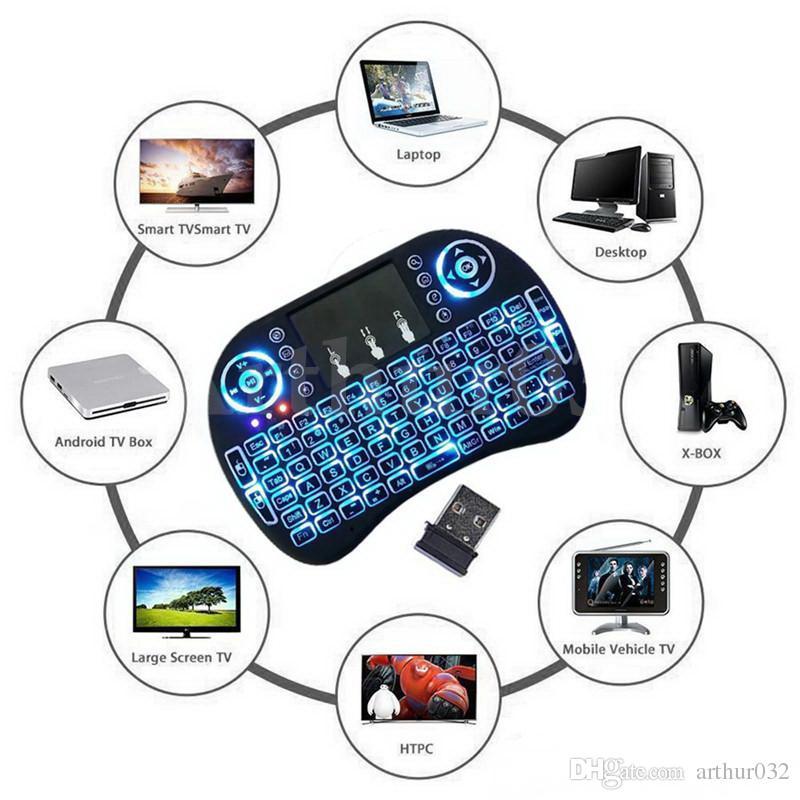 I8 + Contre-rétro-éclairage sans fil Clavier Fly Souris Air Mouse Multi-Media Télécommande avec jeu TouchPad Contrôleur de poche pour S905X S912 TV Box