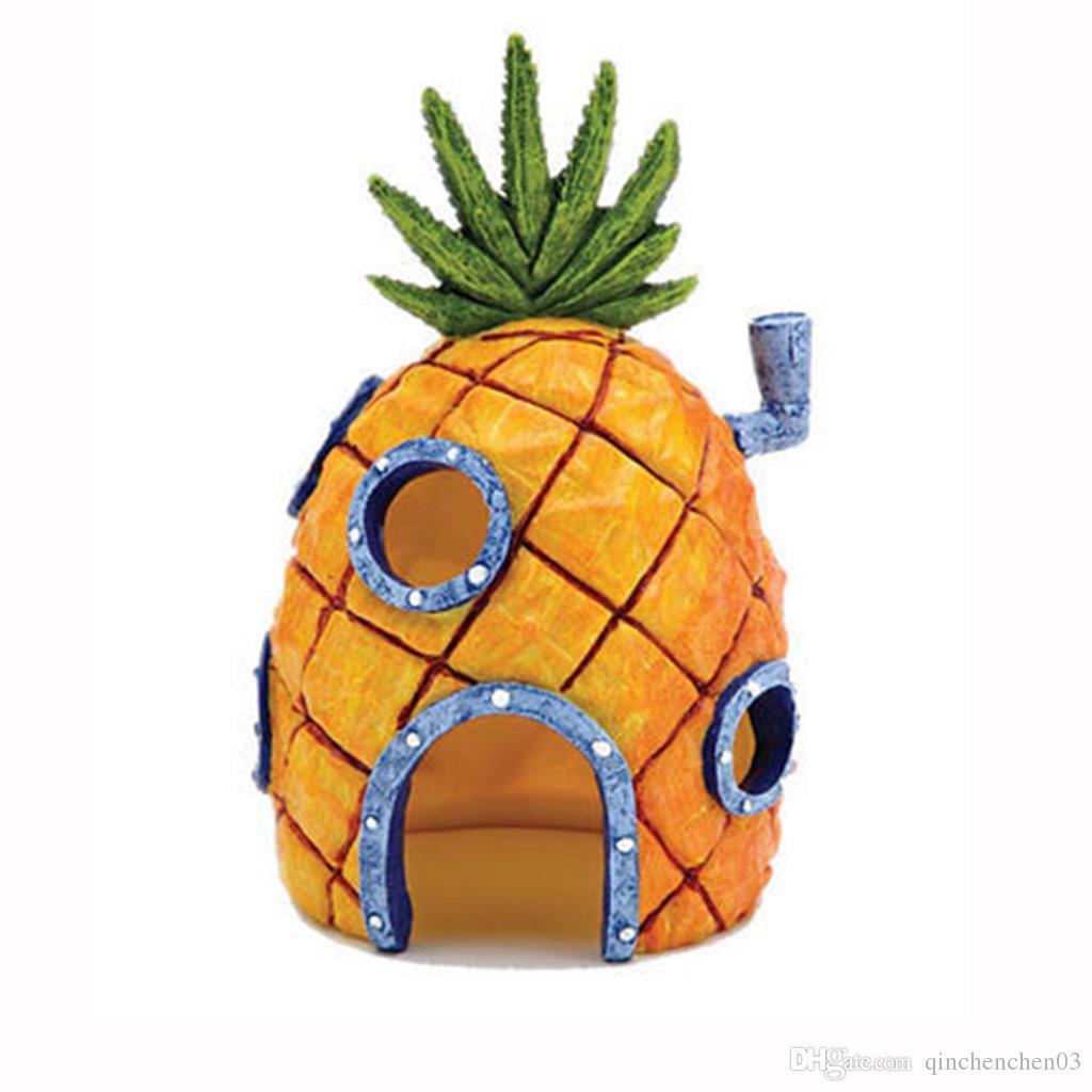 Hot Mini Ananas Cartoon House Accueil Fish Tank Aquarium Ornement Décorations Escape Hole