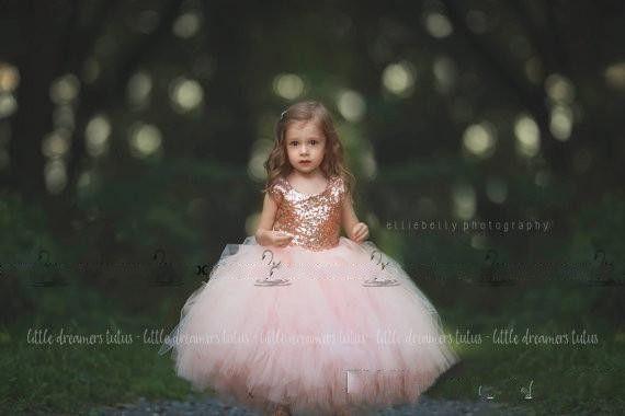Little Girls communion dress Rose Gold Sequins Blush Tulle Ball Gown Flower Girls' Dresses 2017 Cap Sleeve Puffy Formal Wedding Party Dress