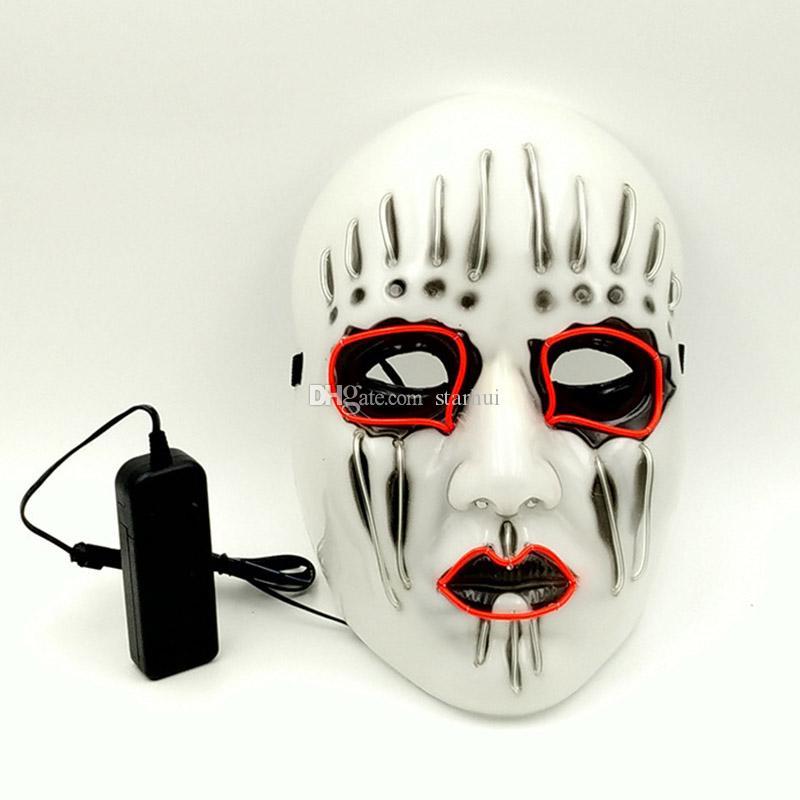 LED 할로윈 마스크 EL 와이어 빛나는 마스크 가상 파티 생일 파티 카니발 코스 프레 전체 얼굴 마스크 할로윈 의상 파티 선물 WX9-59