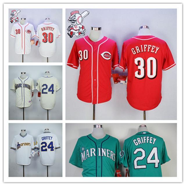 online cheap ken griffey jr jersey new style 30 cincinnati reds 24 seattle mariners baseball jersey