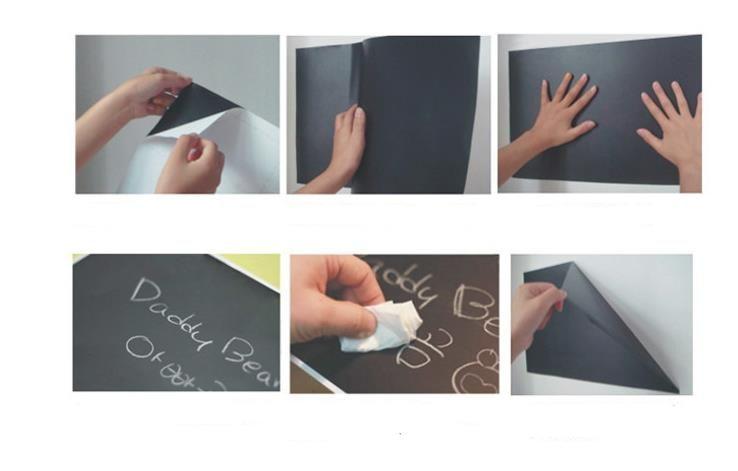 Pegatinas de pared Pizarra Pizarra Negro Chalk Board Sticker Mini Portable 45 * 200CM Vinilo removible PVC con tizas para niños niños