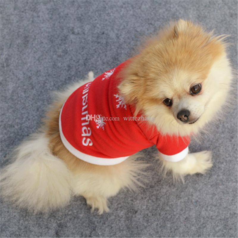 Beau chien chat chandail chiot T-shirt Manteau chaud Sweats à capuche Vêtements Vêtements de Noël avec la couleur rouge 2 style Livraison gratuite